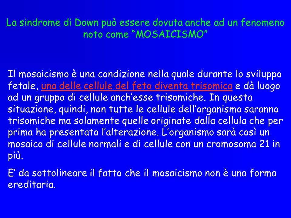 La sindrome di Down può essere dovuta anche ad un fenomeno noto come MOSAICISMO Il mosaicismo è una condizione nella quale durante lo sviluppo fetale,