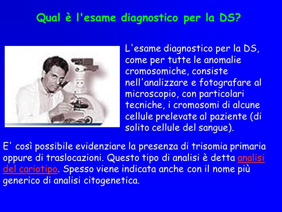 Qual è l'esame diagnostico per la DS? L'esame diagnostico per la DS, come per tutte le anomalie cromosomiche, consiste nell'analizzare e fotografare a