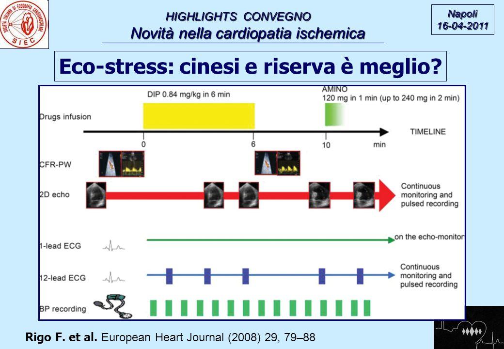HIGHLIGHTS CONVEGNO Novità nella cardiopatia ischemica Novità nella cardiopatia ischemica Napoli16-04-2011 Eco-stress: cinesi e riserva è meglio? Rigo