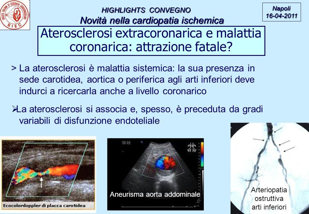 HIGHLIGHTS CONVEGNO Novità nella cardiopatia ischemica Novità nella cardiopatia ischemica Napoli16-04-2011 Aterosclerosi extracoronarica e malattia coronarica: attrazione fatale.