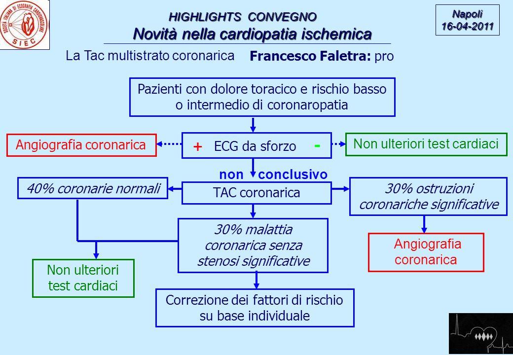 non conclusivo HIGHLIGHTS CONVEGNO Novità nella cardiopatia ischemica Novità nella cardiopatia ischemica Napoli16-04-2011 La Tac multistrato coronaric