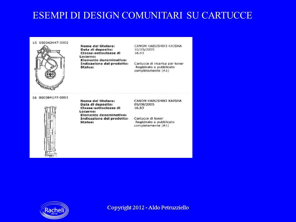 ESEMPI DI DESIGN COMUNITARI SU CARTUCCE Copyright 2012 - Aldo Petruzziello