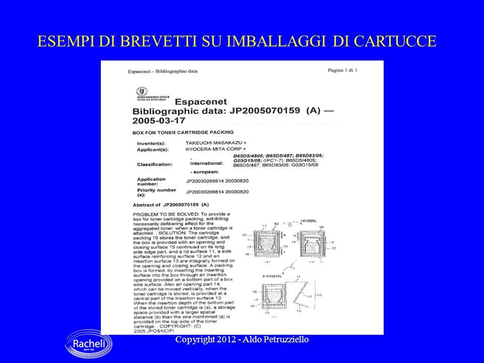 ESEMPI DI BREVETTI SU IMBALLAGGI DI CARTUCCE Copyright 2012 - Aldo Petruzziello
