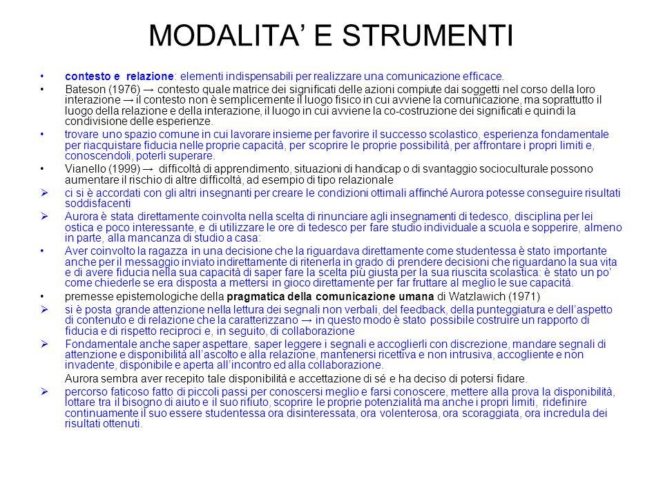 MODALITA E STRUMENTI contesto e relazione: elementi indispensabili per realizzare una comunicazione efficace. Bateson (1976) contesto quale matrice de