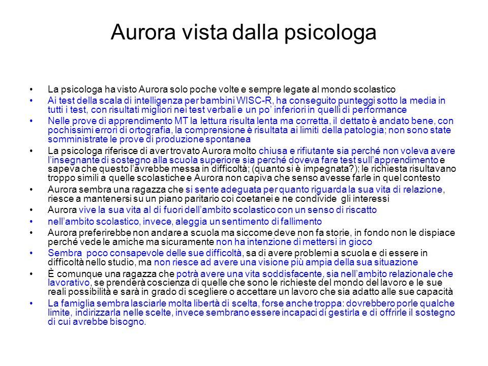 Aurora vista dalla psicologa La psicologa ha visto Aurora solo poche volte e sempre legate al mondo scolastico Ai test della scala di intelligenza per
