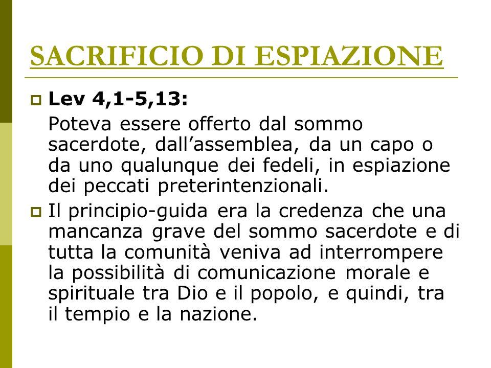 SACRIFICIO DI ESPIAZIONE Lev 4,1-5,13: Poteva essere offerto dal sommo sacerdote, dallassemblea, da un capo o da uno qualunque dei fedeli, in espiazio