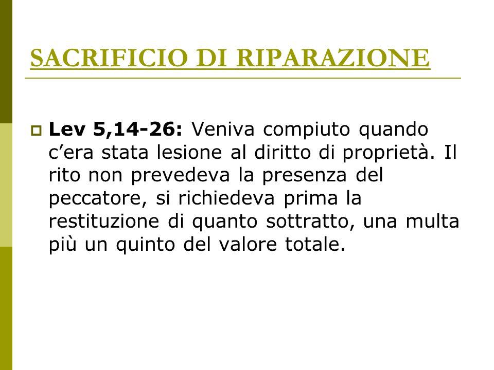 SACRIFICIO DI RIPARAZIONE Lev 5,14-26: Veniva compiuto quando cera stata lesione al diritto di proprietà. Il rito non prevedeva la presenza del peccat