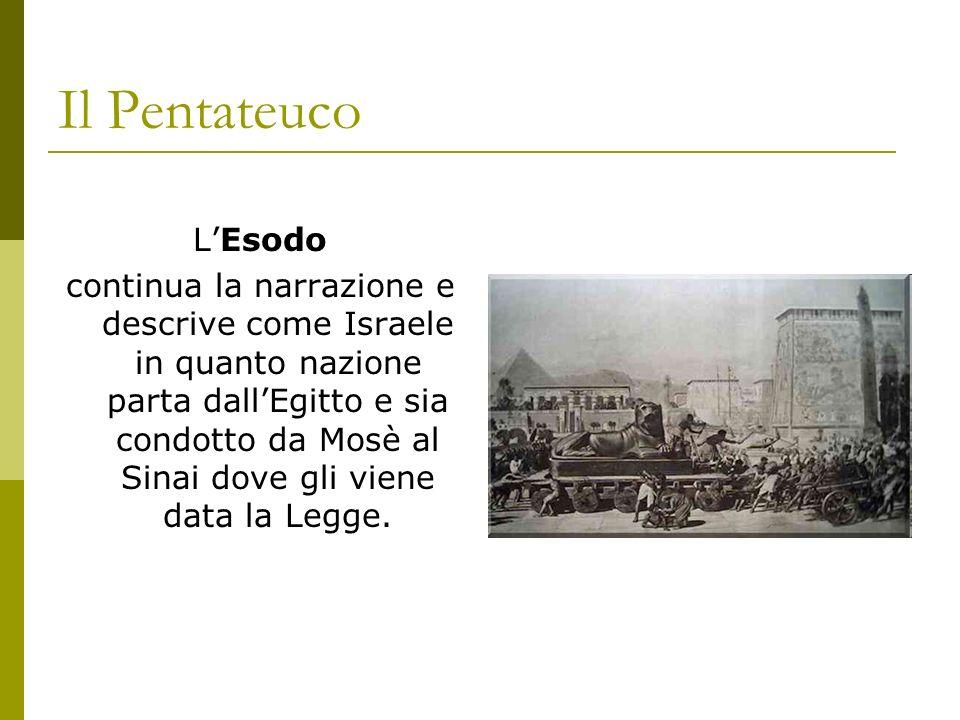 Il Pentateuco LEsodo continua la narrazione e descrive come Israele in quanto nazione parta dallEgitto e sia condotto da Mosè al Sinai dove gli viene
