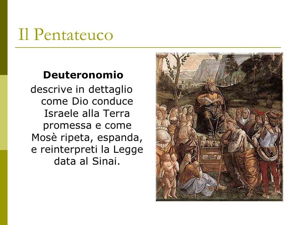 Il Pentateuco Deuteronomio descrive in dettaglio come Dio conduce Israele alla Terra promessa e come Mosè ripeta, espanda, e reinterpreti la Legge dat