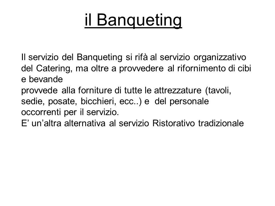il Banqueting Il servizio del Banqueting si rifà al servizio organizzativo del Catering, ma oltre a provvedere al rifornimento di cibi e bevande provv