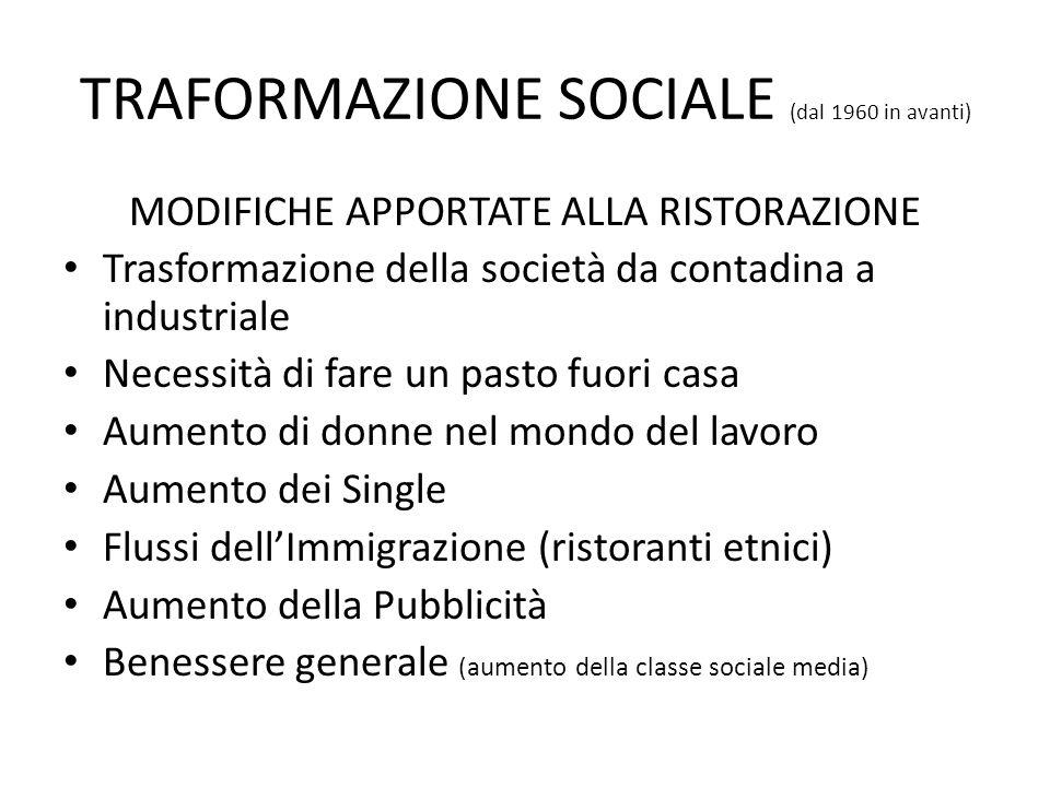 TRAFORMAZIONE SOCIALE (dal 1960 in avanti) MODIFICHE APPORTATE ALLA RISTORAZIONE Trasformazione della società da contadina a industriale Necessità di