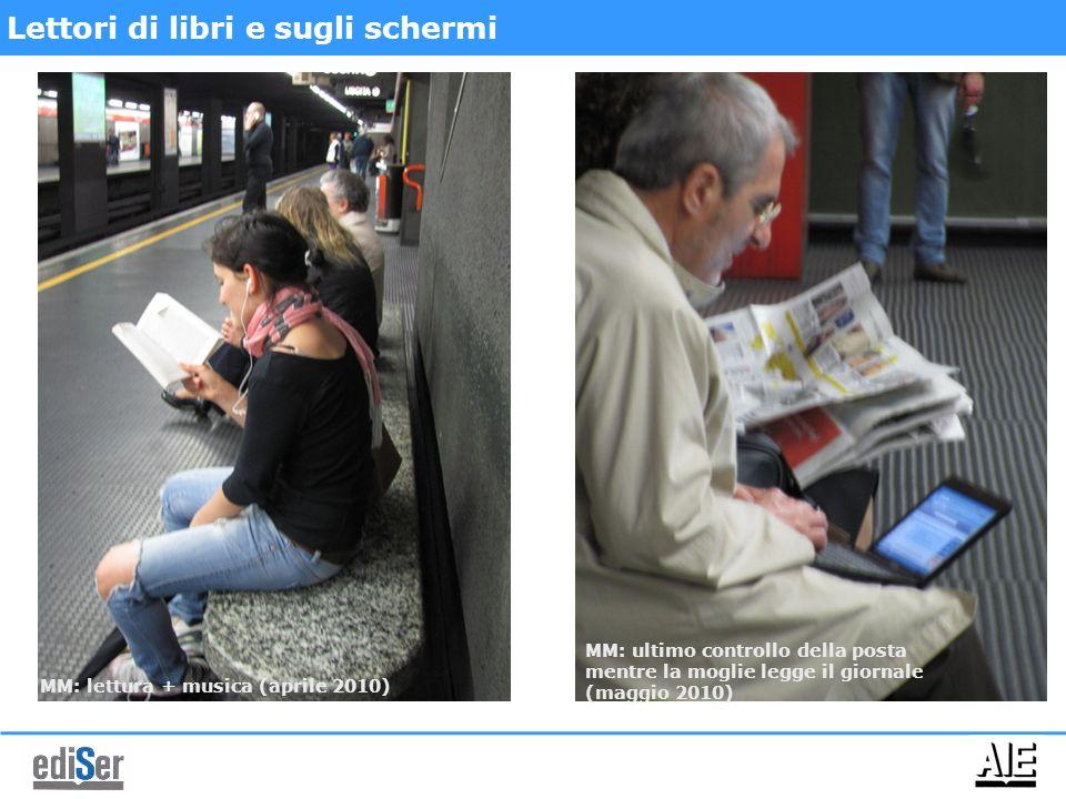 Il cliente di domani (già di oggi) per gli editori: legge un e-book, ma ha dei libri in borsa Fonte: Ufficio studi Aie Milano, MM1 (febbraio 2010) Lettori di libri e eBooks