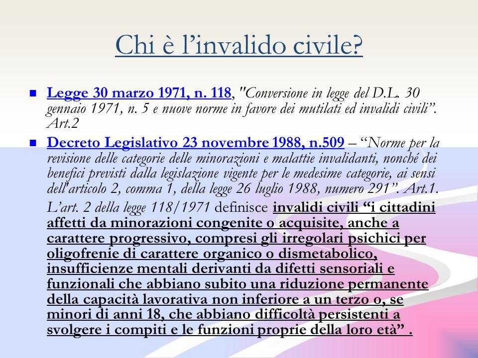 Chi è linvalido civile.Legge 30 marzo 1971, n. 118, Conversione in legge del D.L.