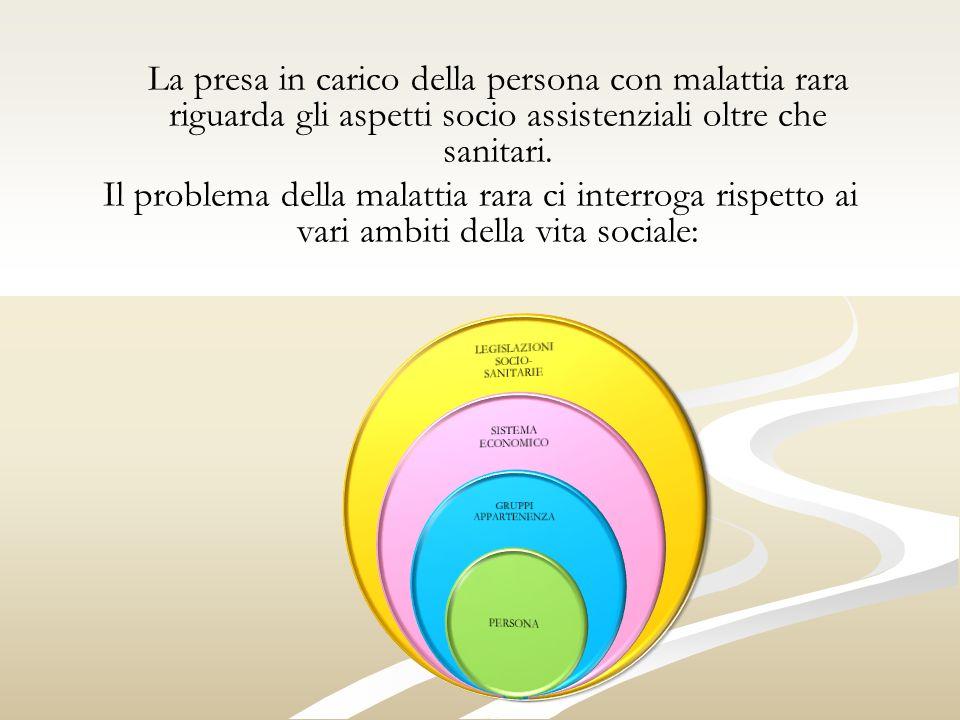 La presa in carico della persona con malattia rara riguarda gli aspetti socio assistenziali oltre che sanitari.