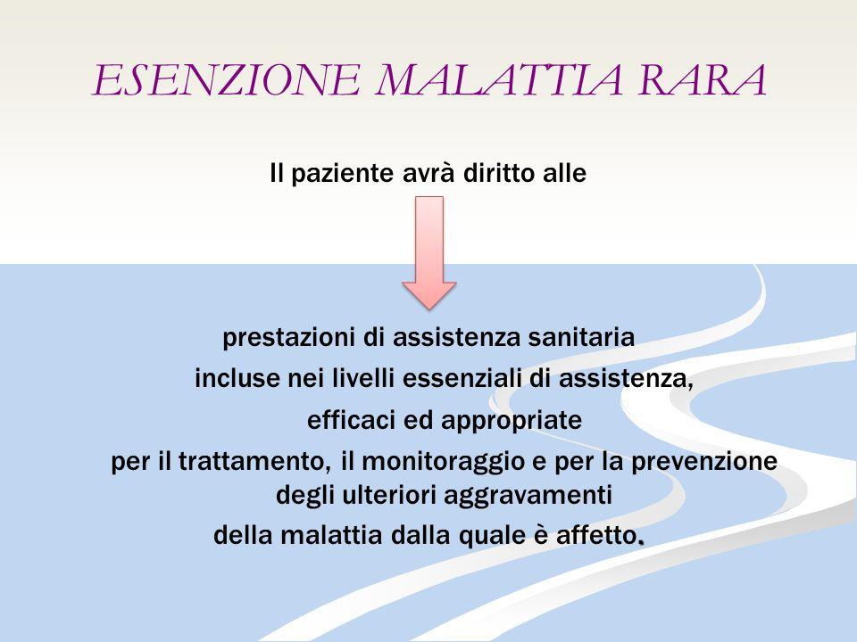 ESENZIONE MALATTIA RARA Il paziente avrà diritto alle prestazioni di assistenza sanitaria incluse nei livelli essenziali di assistenza, efficaci ed appropriate per il trattamento, il monitoraggio e per la prevenzione degli ulteriori aggravamenti.