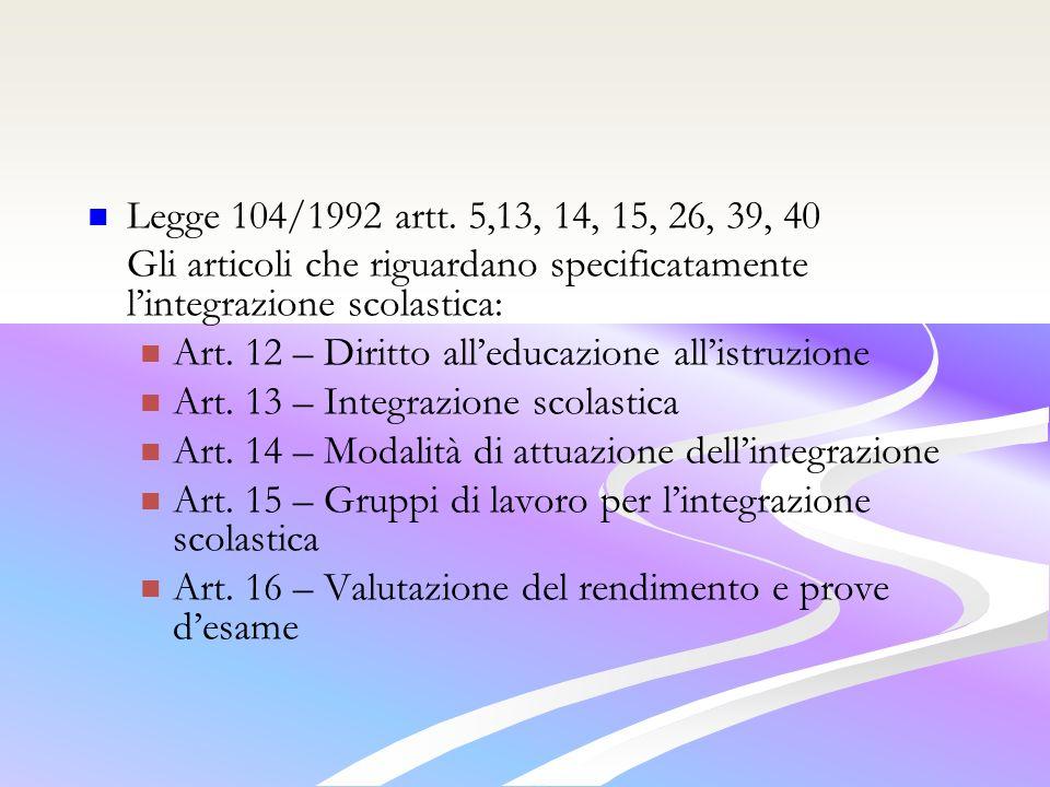 Legge 104/1992 artt.