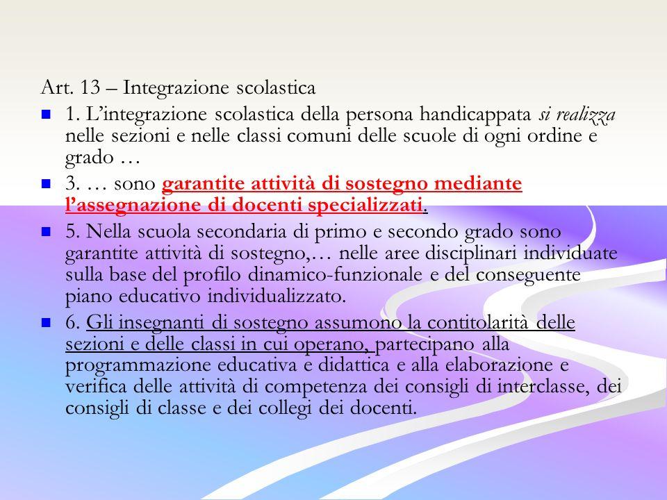 Art.13 – Integrazione scolastica 1.