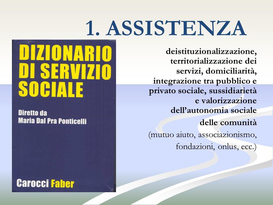 1. ASSISTENZA deistituzionalizzazione, territorializzazione dei servizi, domiciliarità, integrazione tra pubblico e privato sociale, sussidiarietà e v