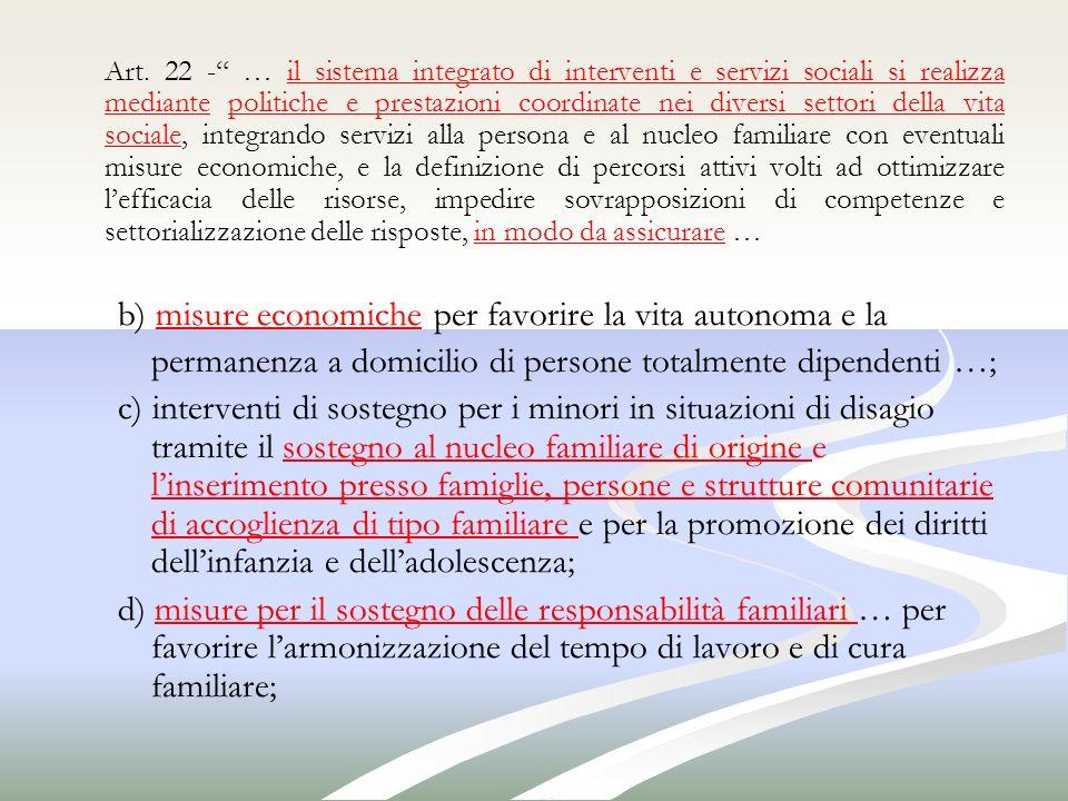 Art. 22 - … il sistema integrato di interventi e servizi sociali si realizza mediante politiche e prestazioni coordinate nei diversi settori della vit