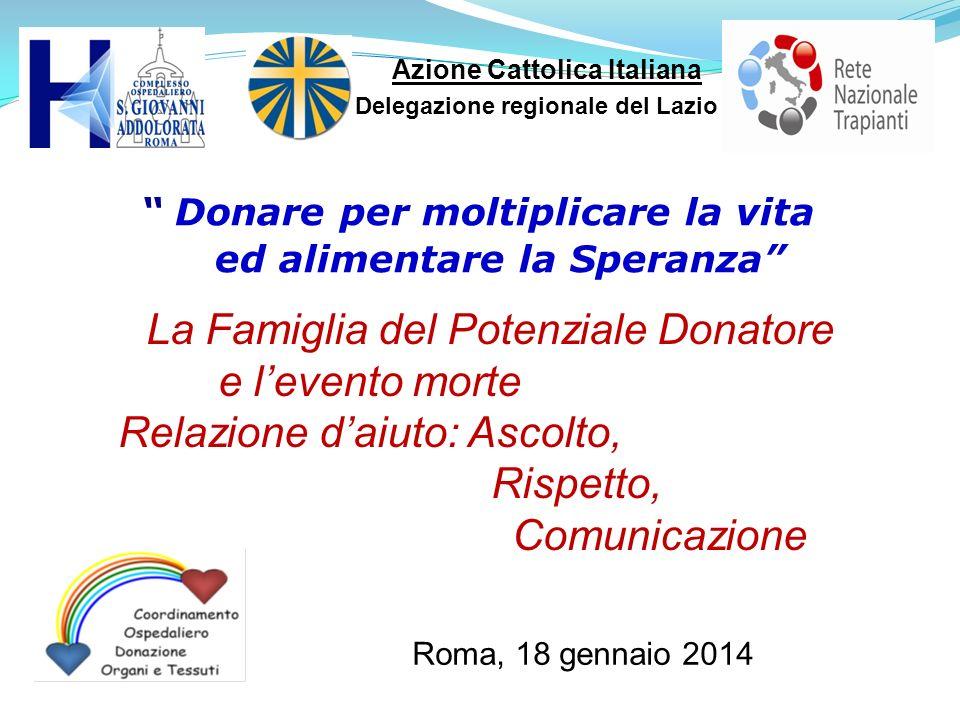 Roma, 18 gennaio 2014 Azione Cattolica Italiana Delegazione regionale del Lazio Donare per moltiplicare la vita ed alimentare la Speranza La Famiglia