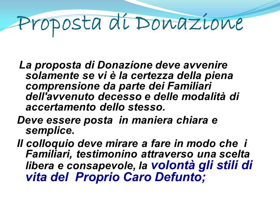 Proposta di Donazione La proposta di Donazione deve avvenire solamente se vi è la certezza della piena comprensione da parte dei Familiari dell'avvenu