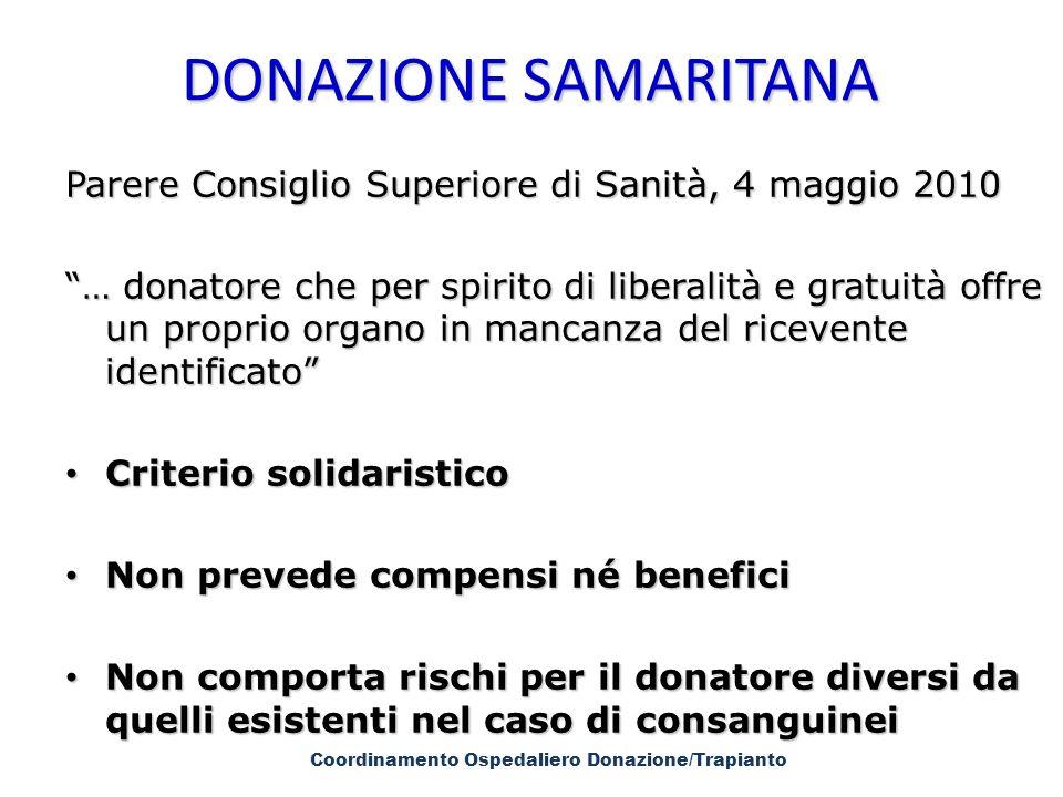 DONAZIONE SAMARITANA DONAZIONE SAMARITANA Parere Consiglio Superiore di Sanità, 4 maggio 2010 … donatore che per spirito di liberalità e gratuità offr