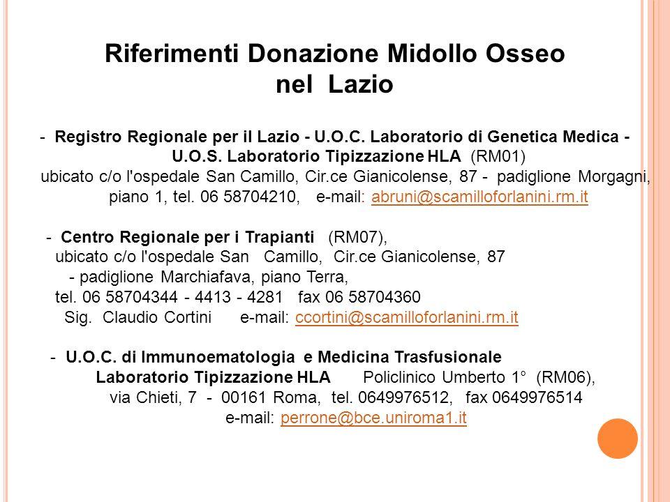 Riferimenti Donazione Midollo Osseo nel Lazio - Registro Regionale per il Lazio - U.O.C. Laboratorio di Genetica Medica - U.O.S. Laboratorio Tipizzazi