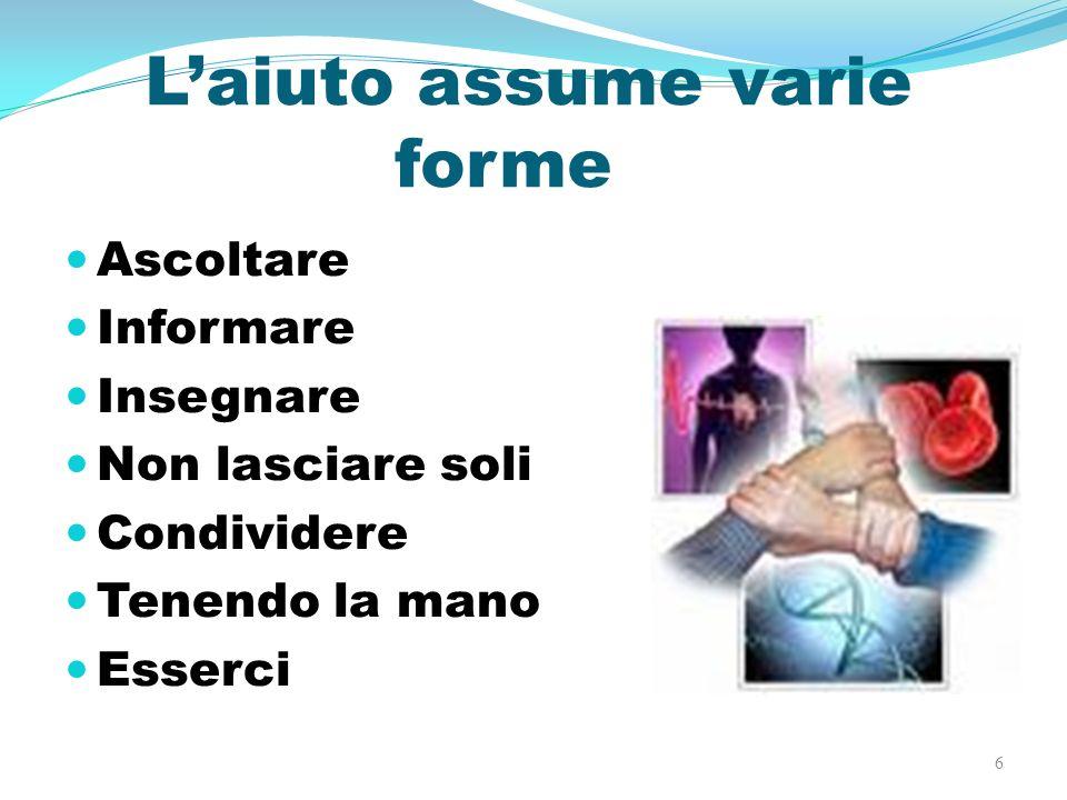 Laiuto assume varie forme Ascoltare Informare Insegnare Non lasciare soli Condividere Tenendo la mano Esserci 6