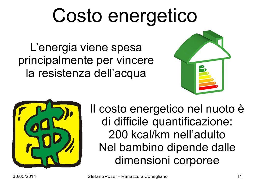 30/03/2014Stefano Poser – Ranazzura Conegliano11 Costo energetico Lenergia viene spesa principalmente per vincere la resistenza dellacqua Il costo ene