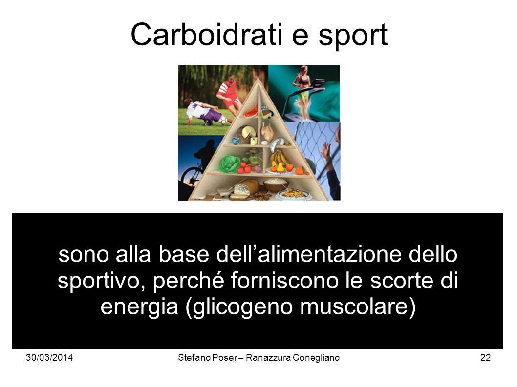 30/03/2014Stefano Poser – Ranazzura Conegliano22 Carboidrati e sport sono alla base dellalimentazione dello sportivo, perché forniscono le scorte di e