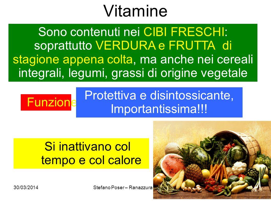 30/03/2014Stefano Poser – Ranazzura Conegliano28 Vitamine Sono contenuti nei CIBI FRESCHI: soprattutto VERDURA e FRUTTA di stagione appena colta, ma a