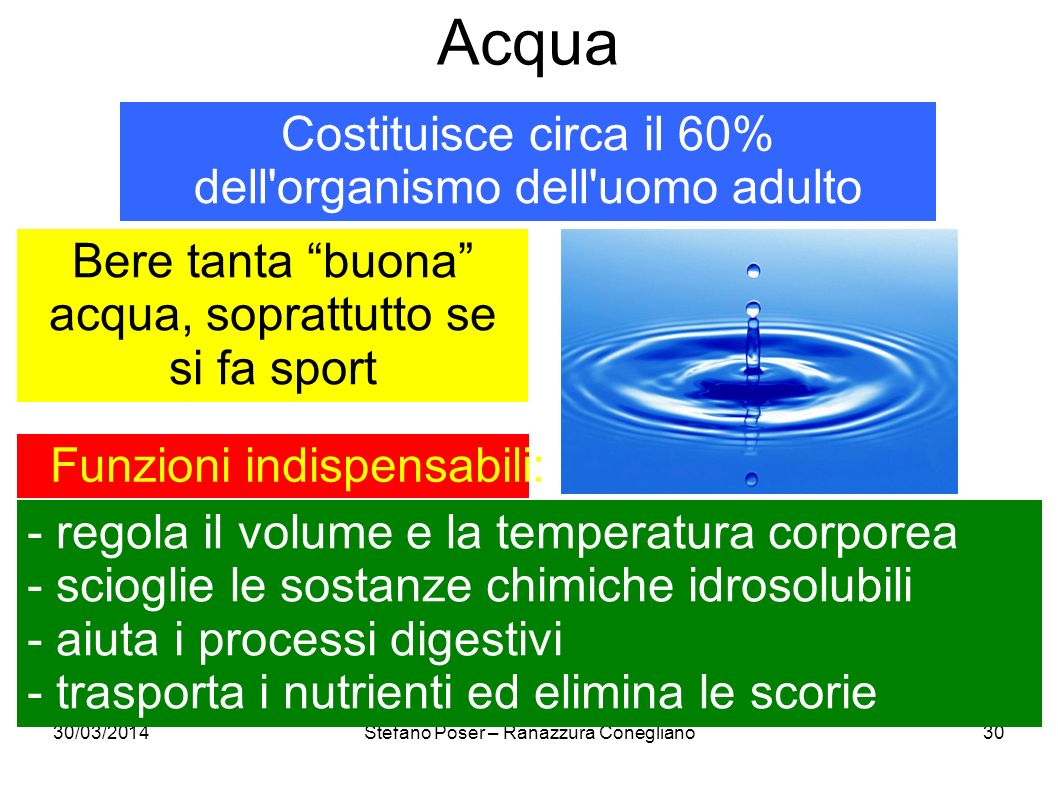 30/03/2014Stefano Poser – Ranazzura Conegliano30 Acqua Costituisce circa il 60% dell'organismo dell'uomo adulto Funzioni indispensabili: - regola il v