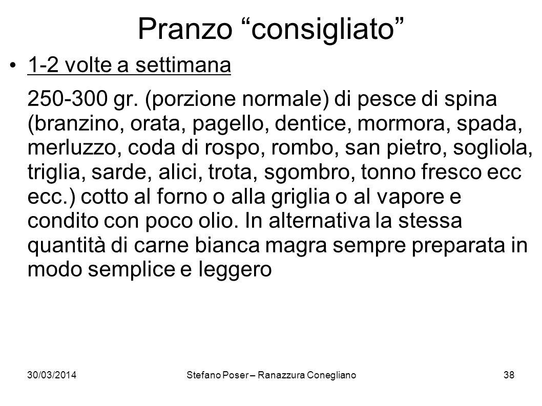 30/03/2014Stefano Poser – Ranazzura Conegliano38 Pranzo consigliato 1-2 volte a settimana 250-300 gr. (porzione normale) di pesce di spina (branzino,