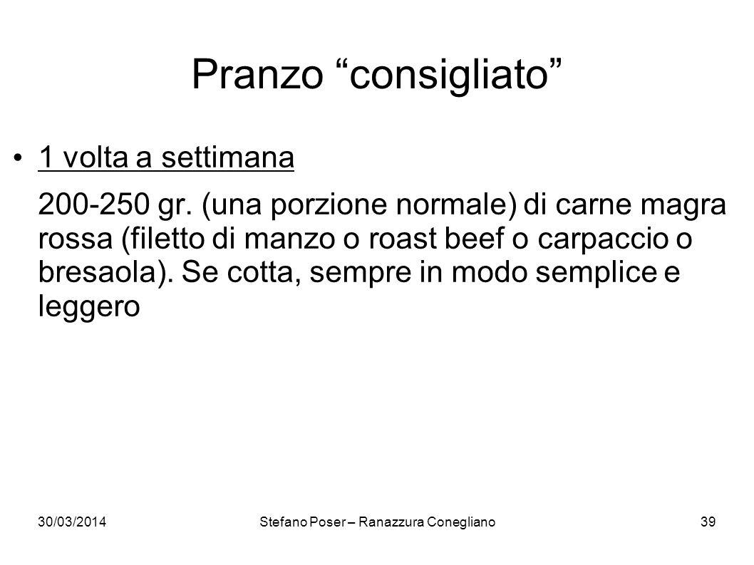 30/03/2014Stefano Poser – Ranazzura Conegliano39 Pranzo consigliato 1 volta a settimana 200-250 gr. (una porzione normale) di carne magra rossa (filet