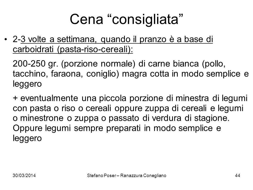 30/03/2014Stefano Poser – Ranazzura Conegliano44 Cena consigliata 2-3 volte a settimana, quando il pranzo è a base di carboidrati (pasta-riso-cereali)