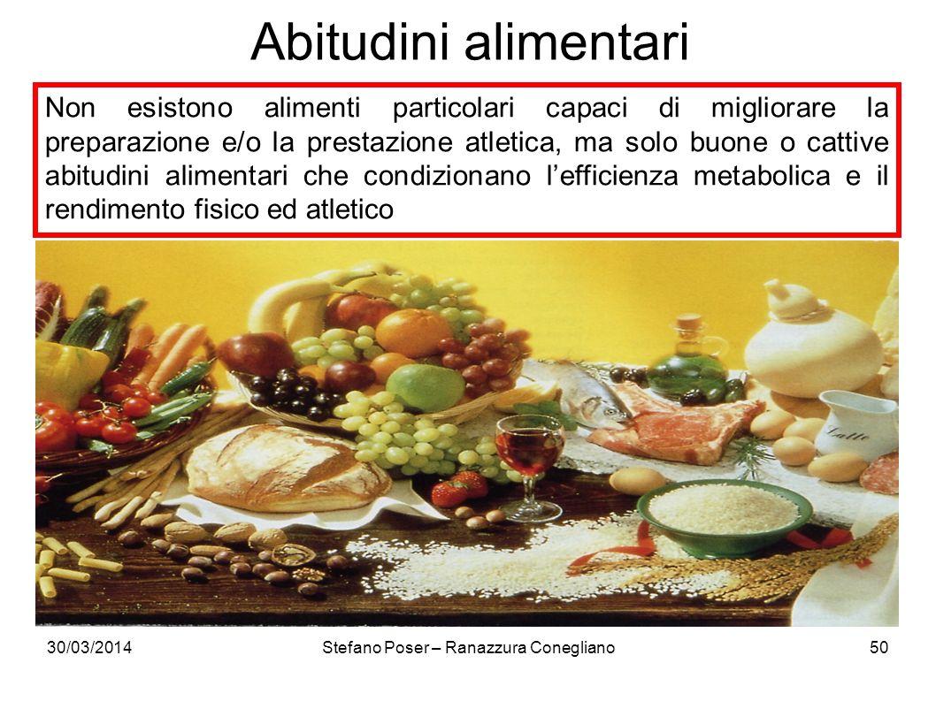30/03/2014Stefano Poser – Ranazzura Conegliano50 Non esistono alimenti particolari capaci di migliorare la preparazione e/o la prestazione atletica, m