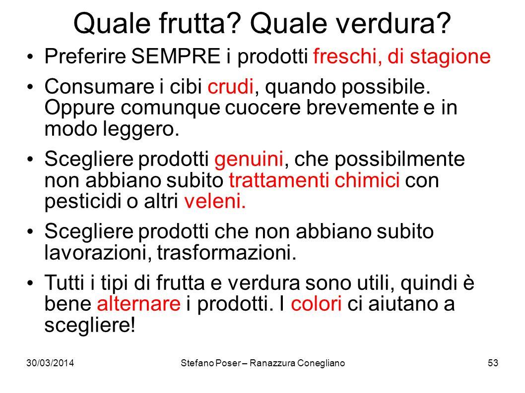 Quale frutta? Quale verdura? 30/03/2014Stefano Poser – Ranazzura Conegliano53 Preferire SEMPRE i prodotti freschi, di stagione Consumare i cibi crudi,