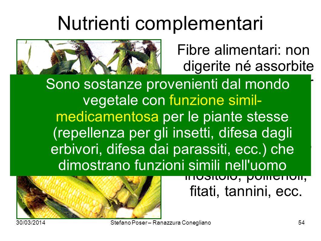 30/03/2014Stefano Poser – Ranazzura Conegliano54 Nutrienti complementari Fibre alimentari: non digerite né assorbite (sono importanti per transito ali