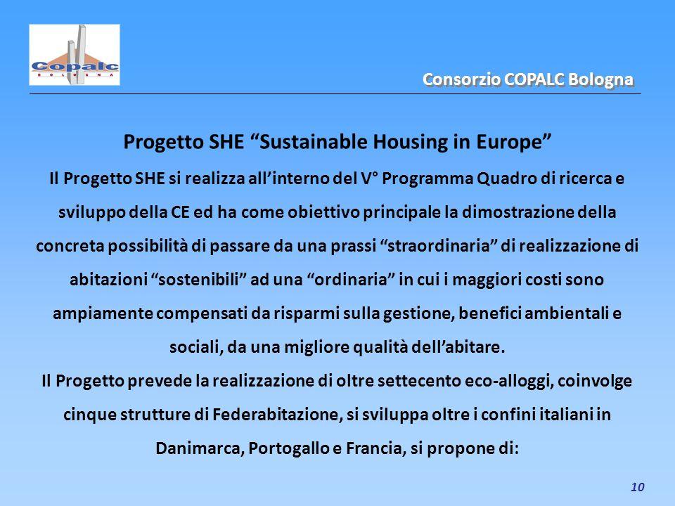 10 Progetto SHE Sustainable Housing in Europe Il Progetto SHE si realizza allinterno del V° Programma Quadro di ricerca e sviluppo della CE ed ha come