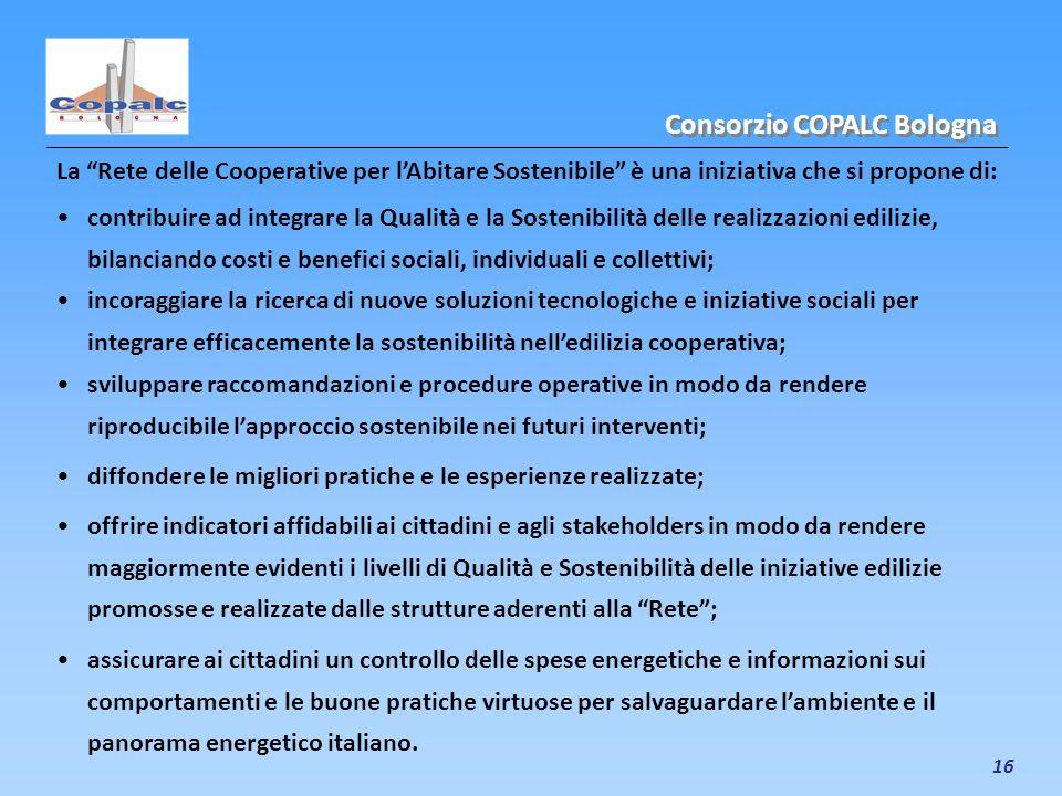 16 La Rete delle Cooperative per lAbitare Sostenibile è una iniziativa che si propone di: Consorzio COPALC Bologna contribuire ad integrare la Qualità