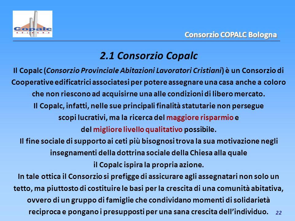 22 2.1 Consorzio Copalc Il Copalc (Consorzio Provinciale Abitazioni Lavoratori Cristiani) è un Consorzio di Cooperative edificatrici associatesi per p