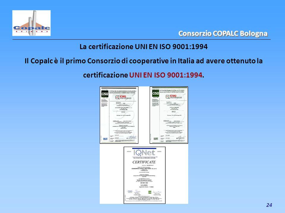24 La certificazione UNI EN ISO 9001:1994 Il Copalc è il primo Consorzio di cooperative in Italia ad avere ottenuto la certificazione UNI EN ISO 9001: