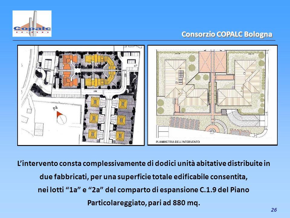 26 Consorzio COPALC Bologna Lintervento consta complessivamente di dodici unità abitative distribuite in due fabbricati, per una superficie totale edi