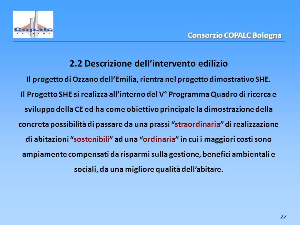 27 2.2 Descrizione dellintervento edilizio Il progetto di Ozzano dellEmilia, rientra nel progetto dimostrativo SHE. Il Progetto SHE si realizza allint