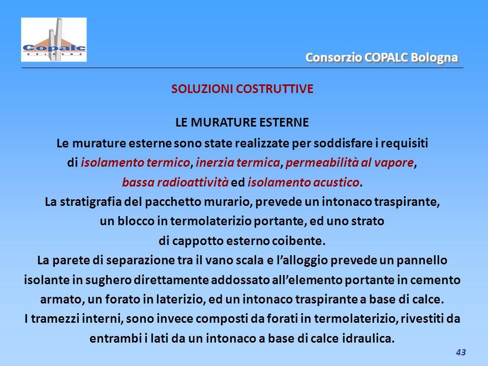 43 SOLUZIONI COSTRUTTIVE LE MURATURE ESTERNE Le murature esterne sono state realizzate per soddisfare i requisiti di isolamento termico, inerzia termi