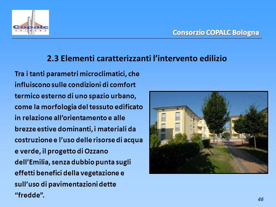 46 2.3 Elementi caratterizzanti lintervento edilizio Consorzio COPALC Bologna Tra i tanti parametri microclimatici, che influiscono sulle condizioni d