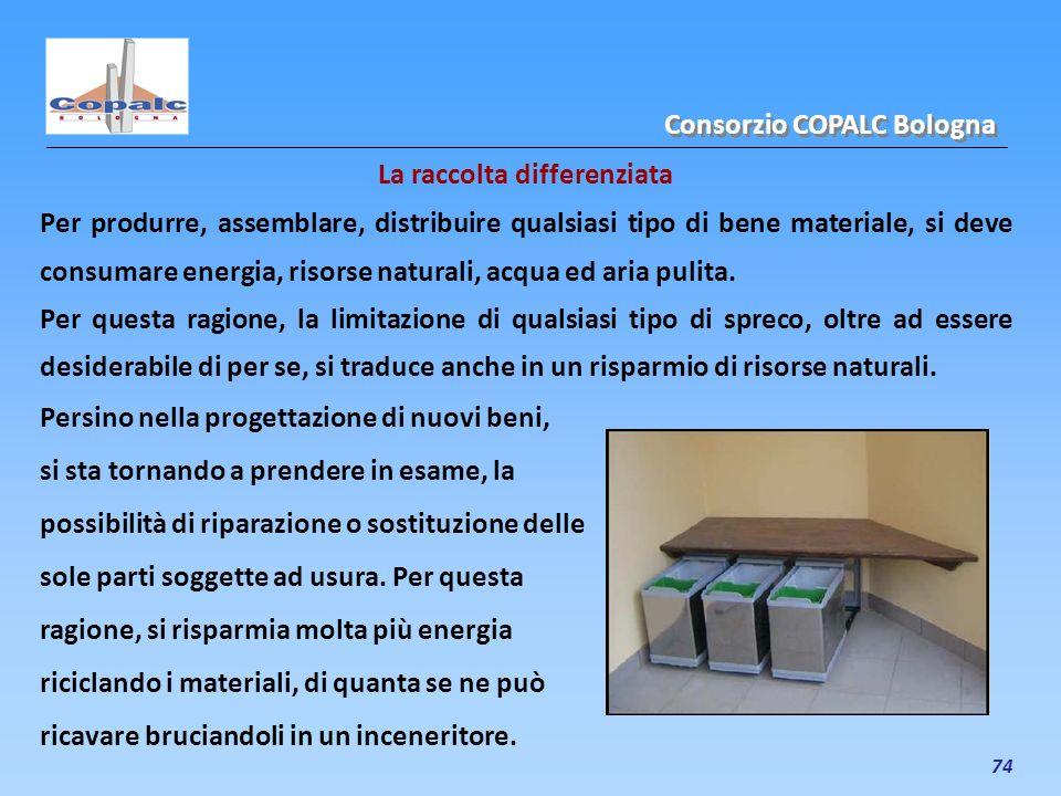 74 La raccolta differenziata Per produrre, assemblare, distribuire qualsiasi tipo di bene materiale, si deve consumare energia, risorse naturali, acqu