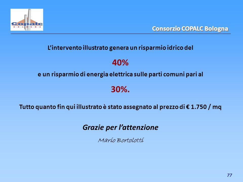 77 Lintervento illustrato genera un risparmio idrico del 40% Consorzio COPALC Bologna e un risparmio di energia elettrica sulle parti comuni pari al 3