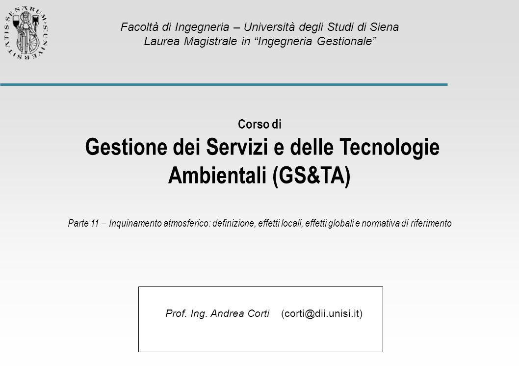 Prof. Ing. Andrea Corti (corti@dii.unisi.it) Corso di Gestione dei Servizi e delle Tecnologie Ambientali (GS&TA) Parte 11 – Inquinamento atmosferico: