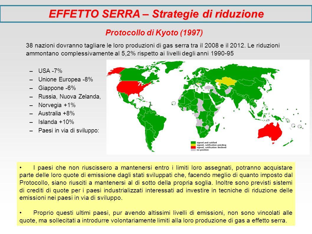 EFFETTO SERRA – Strategie di riduzione Protocollo di Kyoto (1997) 38 nazioni dovranno tagliare le loro produzioni di gas serra tra il 2008 e il 2012.